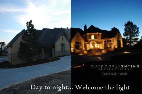 Outdoor lighting Colorado before and after